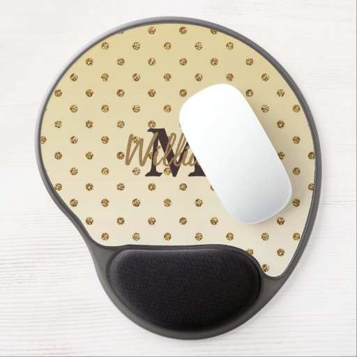 Awesome shining faux glitter gold polka dots gel mouse pads