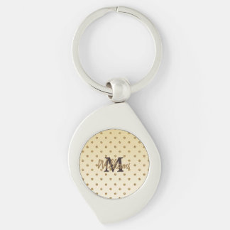 Awesome shining faux glitter gold polka dots Silver-Colored swirl key ring