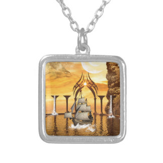 Awesome ship silver plated necklace