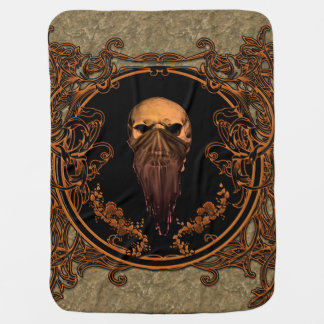 Awesome skull on a frame receiving blanket