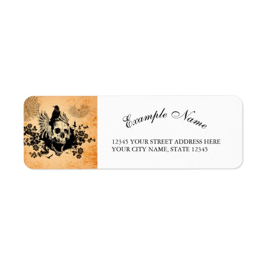 Awesome skull with wings and crow return address label