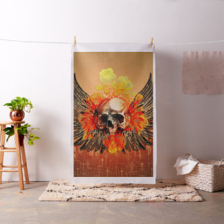Awesome skull with wonderful roses and wings fabric