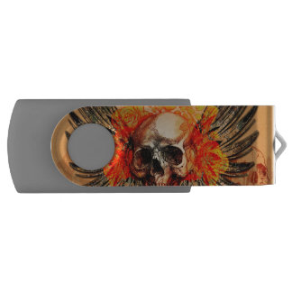 Awesome skull with wonderful roses and wings swivel USB 2.0 flash drive
