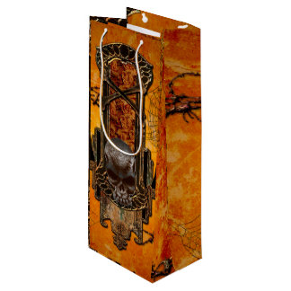 Awesome skulls and crow wine gift bag