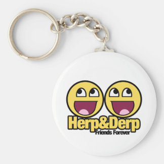 Awesome Smiley Herp and Derp Key Ring