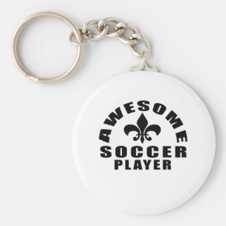 AWESOME SOCCER PLAYER BASIC ROUND BUTTON KEY RING