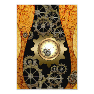 Awesome steampunk design with clocks and gears 13 cm x 18 cm invitation card