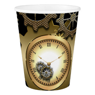 Awesome steampunk design with clocks and gears paper cup