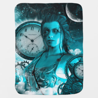Awesome steampunk lady in the universe baby blanket