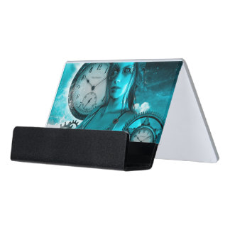 Awesome steampunk lady in the universe desk business card holder