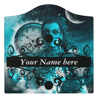 Awesome steampunk lady in the universe door sign