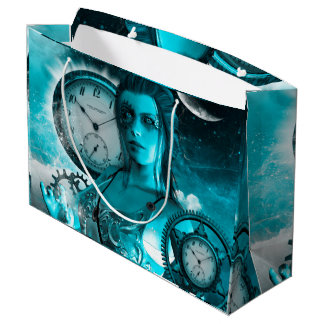 Awesome steampunk lady in the universe large gift bag