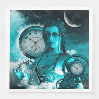 Awesome steampunk lady in the universe paper napkin