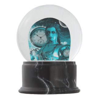 Awesome steampunk lady in the universe snow globe