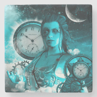 Awesome steampunk lady in the universe stone coaster