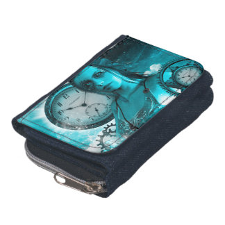 Awesome steampunk lady in the universe wallet