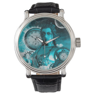 Awesome steampunk lady in the universe watch