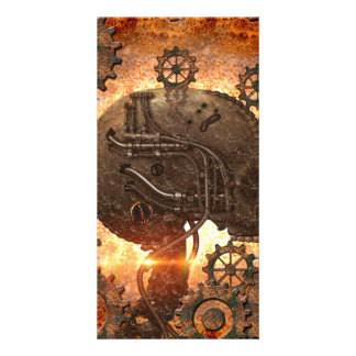 Awesome steampunk Skull Custom Photo Card