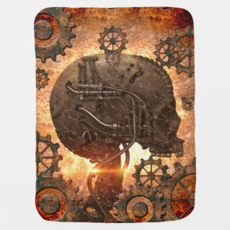 Awesome steampunk Skull with gears Buggy Blanket