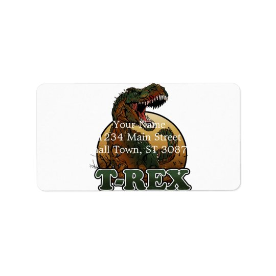 awesome t-rex brown and green illustration address label