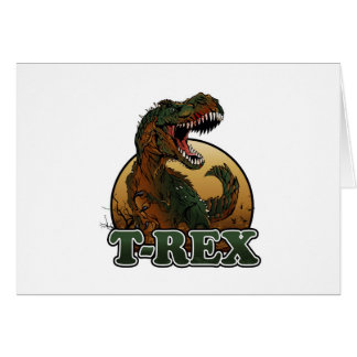 awesome t-rex brown and green illustration card