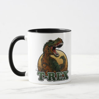 awesome t-rex brown and green illustration mug