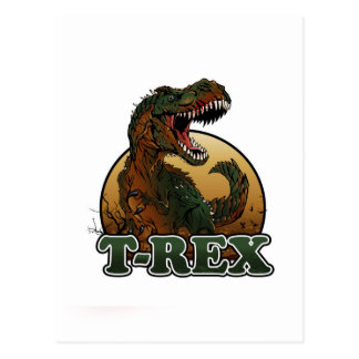 awesome t-rex brown and green illustration postcard