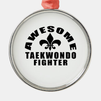 AWESOME TAEKWONDO FIGHTER Silver-Colored ROUND DECORATION