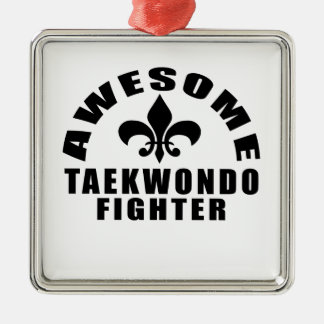 AWESOME TAEKWONDO FIGHTER Silver-Colored SQUARE DECORATION