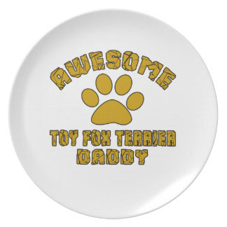 AWESOME TOY FOX TERRIER DADDY DINNER PLATES