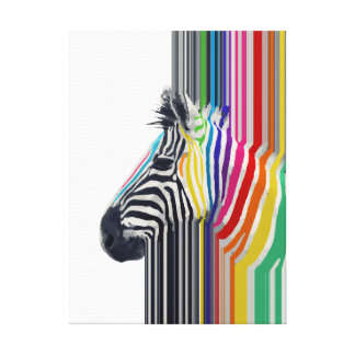 awesome trendy colourful vibrant stripes zebra gallery wrapped canvas