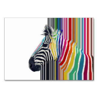 awesome trendy colourful vibrant stripes zebra table card