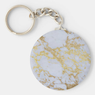 Awesome trendy modern faux gold glitter marble basic round button key ring