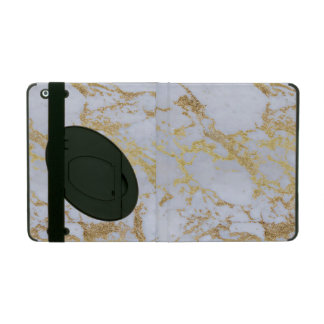 Awesome trendy modern faux gold glitter marble iPad case