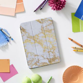 Awesome trendy modern faux gold glitter marble iPad pro cover