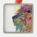 Awesome tribal watercolor lion design metal ornament