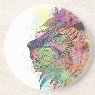 Awesome tribal watercolor lion design sandstone coaster