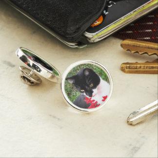 Awesome Tuxedo Cat in Garden Lapel Pin