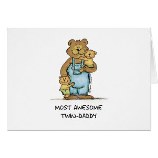 Awesome Twin Daddy Greeting Card