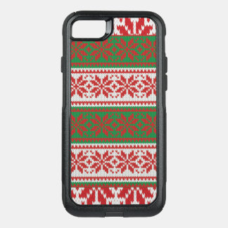 Awesome Ugly Christmas Sweater  Red Green Pattern OtterBox Commuter iPhone 8/7 Case