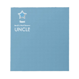 Awesome UNCLE Blue White with Star and Name B07 Notepad