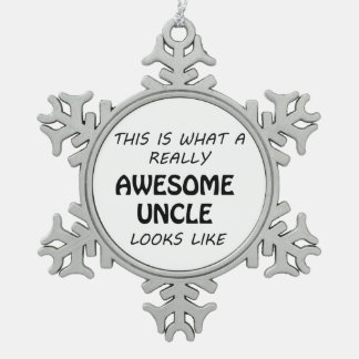 Awesome Uncle Snowflake Pewter Christmas Ornament