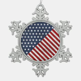 awesome USA flag grunge stars stripes american Snowflake Pewter Christmas Ornament