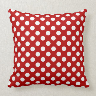 Awesome Vibrant Red and White Polka Dot Pattern Cushions