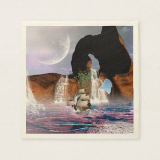 Awesome view over the ocean with ship disposable napkin