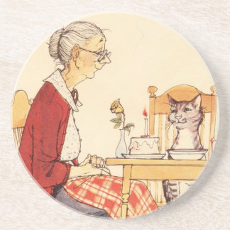 Awesome Vintage Cat and Woman Sitting for Dinner Drink Coaster