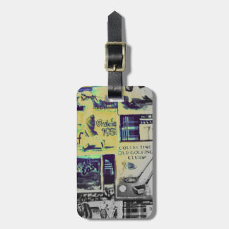 Awesome Vintage Golf Collage Pattern Luggage Tag