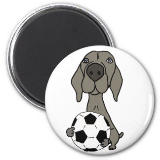 Awesome Weimaraner Dog Playing Soccer Magnet