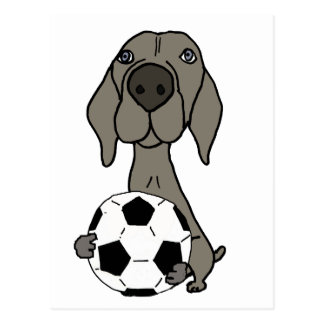 Awesome Weimaraner Dog Playing Soccer Postcard