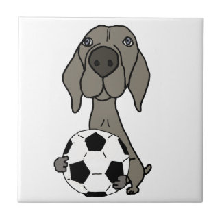 Awesome Weimaraner Dog Playing Soccer Small Square Tile